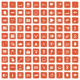 100 cyber security icons set grunge orange. 100 cyber security icons set in grunge style orange color isolated on white background vector illustration Stock Image