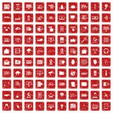 100 cyber security icons set grunge red. 100 cyber security icons set in grunge style red color isolated on white background vector illustration Royalty Free Stock Photography