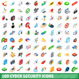 100 cyber security icons set, isometric 3d style Royalty Free Stock Photos