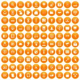 100 cyber security icons set orange. 100 cyber security icons set in orange circle isolated on white vector illustration vector illustration