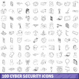 100 cyber security icons set, outline style. 100 cyber security icons set in outline style for any design vector illustration Stock Illustration