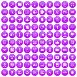 100 cyber security icons set purple. 100 cyber security icons set in purple circle isolated on white vector illustration Stock Photos