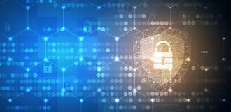 Cyber security and information or network protection. Future tec. Cyber security and information or network protection. Future cyber technology web services for Stock Photo