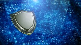 Cyber security, information privacy concept - Shield shaped processor on digital data background Stock Illustration
