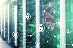 Cyber security, information privacy, data protection concept on modern server room background. Internet and digital. Technology concept stock images