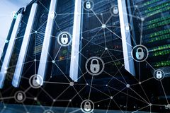Cyber security, information privacy, data protection concept on modern server room background. Internet and digital. Technology concept royalty free stock photos