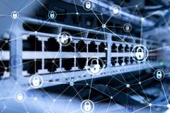 Cyber security, information privacy, data protection concept on modern server room background. Internet and digital technology. Concept royalty free stock images