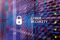 Cyber security, information privacy and data protection concept on server room background.  Stock Image