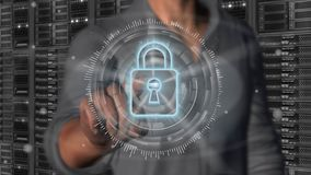Cyber security internet and networking concept - 3D rendering. Cyber security internet and networking concept. Businessman using digital screen padlock on server Royalty Free Stock Photo
