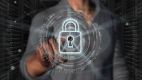 Cyber security internet and networking concept - 3D rendering. Cyber security internet and networking concept. Businessman using digital screen padlock on server Stock Image