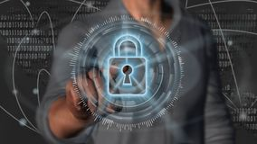 Cyber security internet and networking concept - 3D rendering. Cyber security internet and networking concept. Businessman using digital screen padlock Stock Photography