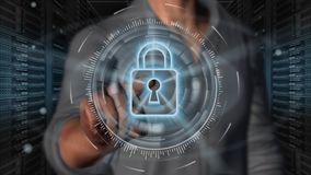 Cyber security internet and networking concept - 3D rendering. Cyber security internet and networking concept. Businessman using digital screen padlock on server Royalty Free Stock Photos