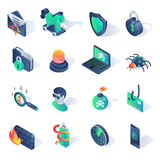 Cyber security isometric flat icons. Vector illustration Stock Photos