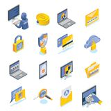 Cyber Security Isometric Icons Set. Cyber security and internet threats isometric icons set with password notification end to end encryption biometric Stock Photos