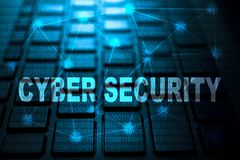 Cyber security keyword on keyboard. Cyber security keyword concept on computer keyboard technology background macro shot stock illustration