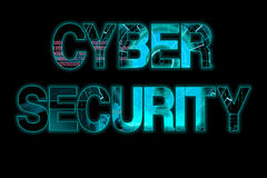 Cyber security laser writing on a black background Stock Images