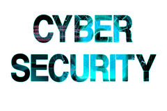 Cyber security laser writing on a white background Royalty Free Stock Photography