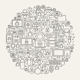 Cyber Security Line Icons Circle. Vector Illustration of Hacker Outline Objects Royalty Free Stock Image