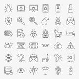 Cyber Security Line Icons Stock Photo