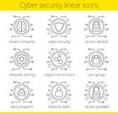 Cyber security linear icons set Royalty Free Stock Photography