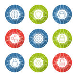 Cyber security linear icons set Stock Photo