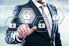 Cyber Security Lock on Digital Screen Data Protection Business Technology Privacy concept.  royalty free stock photos