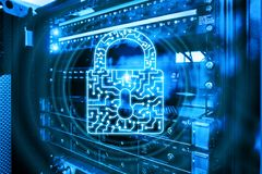 Cyber Security lock icon Information Privacy Data Protection internet and Technology concept.  royalty free stock photo