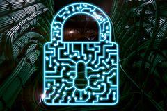 Cyber Security lock icon Information Privacy Data Protection internet and Technology concept.  stock images