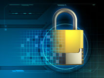 Cyber security lock. Security padlock merged with high technology design elements. 3D illustration Royalty Free Stock Image