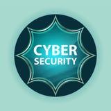 Cyber Security magical glassy sunburst blue button sky blue background stock illustration