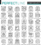Cyber security outline mini concept symbols. Computer network protection modern stroke linear style illustrations set Royalty Free Stock Images