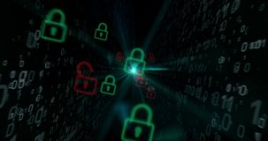 Cyber security with padlocks concept stock footage