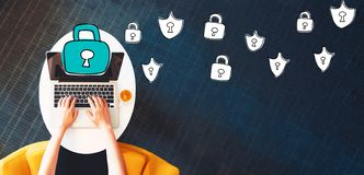 Cyber Security with person using a laptop Stock Images