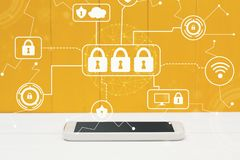 Cyber security with smartphone Royalty Free Stock Images