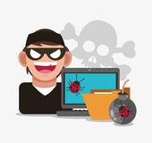 Cyber security system hacker design. Hacker file laptop bug cyber security system technology icon. Flat design. Vector illustration Stock Images