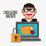 Cyber security system laptop design. Padlock laptop file bug hacker cyber security system technology icon. Flat design. Vector illustration Stock Photo