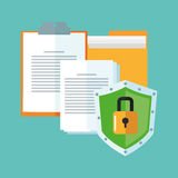 Cyber security system and media design. File document and padlock icon. Cyber security system and media theme. Colorful design. Vector illustration Stock Images