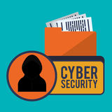 Cyber security system and media design. Hacker and file icon. Cyber security system and media theme. Colorful design. Vector illustration Stock Images
