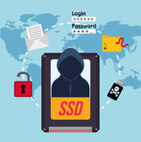 Cyber security system and media design. Hacker ssd map padlock file usb icon. Cyber security system and media theme. Colorful design. Vector illustration Royalty Free Stock Image