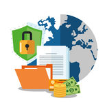 Cyber security system and media design. Planet file money document padlock and shield icon. Cyber security system and media theme. Colorful design. Vector Stock Photography