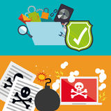 Cyber security system and media design. Shield file document bomb laptop skull and icon set. Cyber security system and media theme. Colorful design. Vector Stock Photo