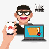 Cyber security system smartphone hacker design. Smartphone hacker skull file laptop cyber security system technology icon. Flat design. Vector illustration Royalty Free Stock Image