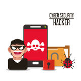 Cyber security system smartphone hacker design. Smartphone hacker skull file cyber security system technology icon. Flat design. Vector illustration Royalty Free Stock Photos