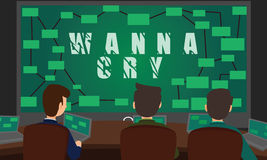 Cyber Security Team fighting with WannaCry Ransomware Attack. Stock Photo