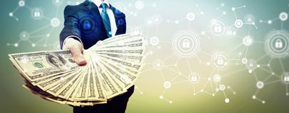 Cyber security theme with business man with cash royalty free illustration