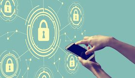 Cyber security theme with person holding smartphone royalty free illustration