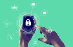 Cyber security theme with smartphone stock image
