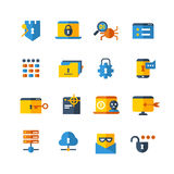Cyber security, virus web protection vector flat icons. Protection server mail, set of icon privacy server computer security illustration Royalty Free Stock Photography
