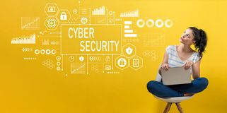 Cyber security with woman using a laptop royalty free stock image