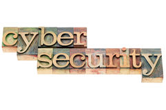 Cyber security in wood type Stock Photography